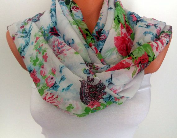 Floral Printed Scarf Silk Chiffon Scarf For Her by SuHandmadeStore