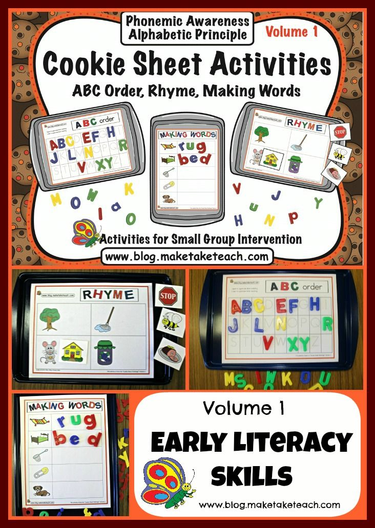 3 Volumes of Cookie Sheet Activities.  Great for centers.  ABC Order, Rhyme, Building CVC Words, Early Numeracy and more!