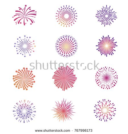 Stock Vector: Bright festive fireworks, star explosion vector collection. Star firework bright and explosion illuminated illustration -
