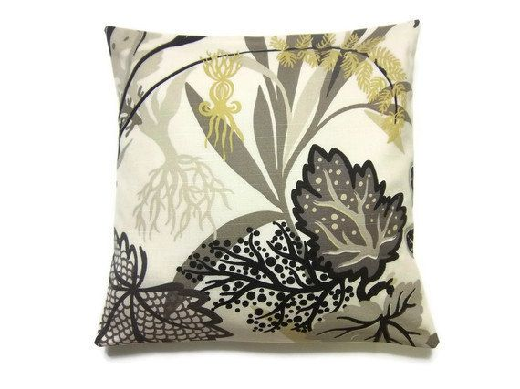 Two Black Cream Gold Gray Pillow Covers Decorative Aquatic