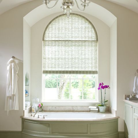 arched top woven shades bathroom window treatment design