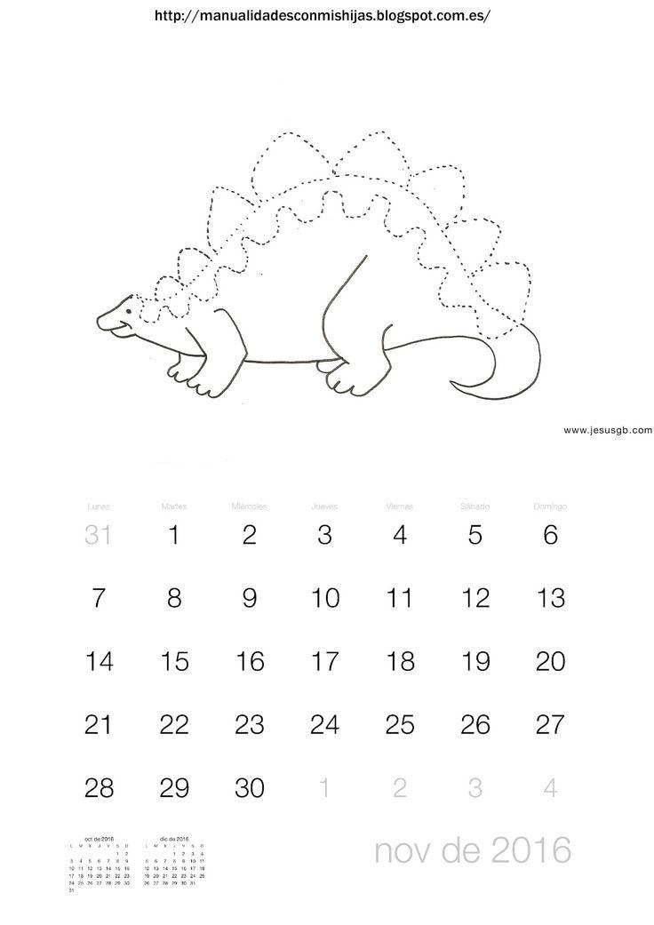 Manualidadesconmishijas: Calendario 2016 noviembre. Grafomotricidad dinosaurio