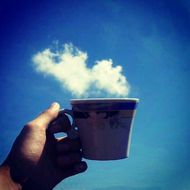Steamy Cup in the Sky The #sky is always a popular subject for photos on Twitter. Photographer @Miftahyf (400+ followers), however, managed to capture the wild blue yonder in an original way.