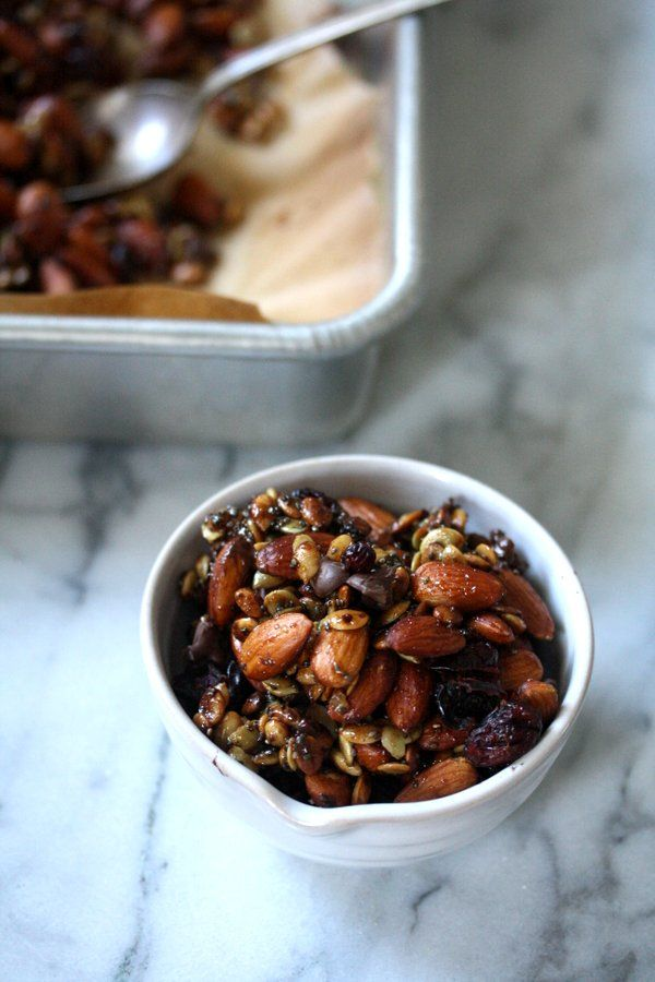 super seedy trail mix with almonds chia and cranberries dark chocolate ...