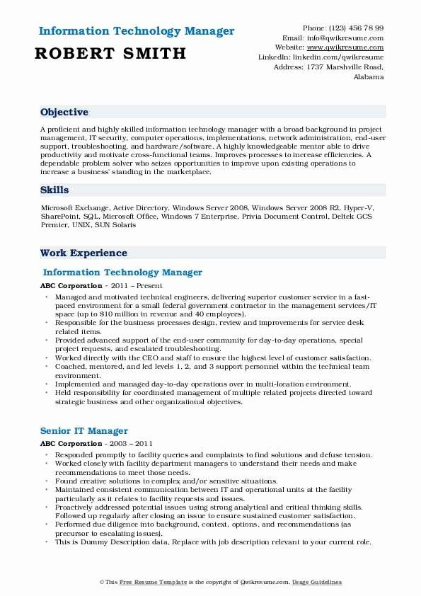 Information Technology Manager Resume Examples Luxury It Manager Resume Samples Manager Resume Job Resume Samples Job Resume