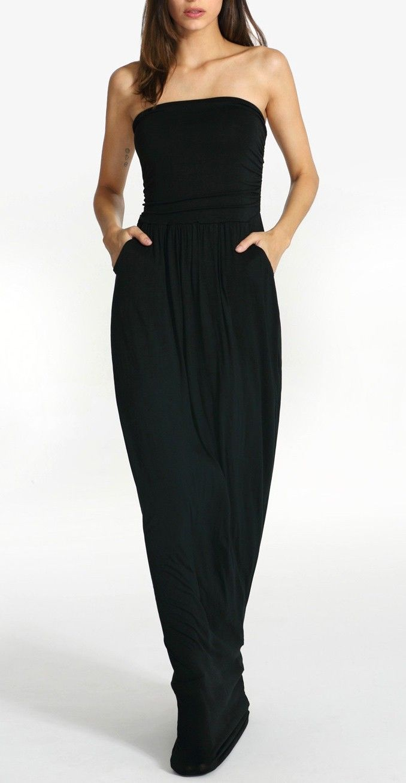 SheIn's black strapless pockets maxi dress