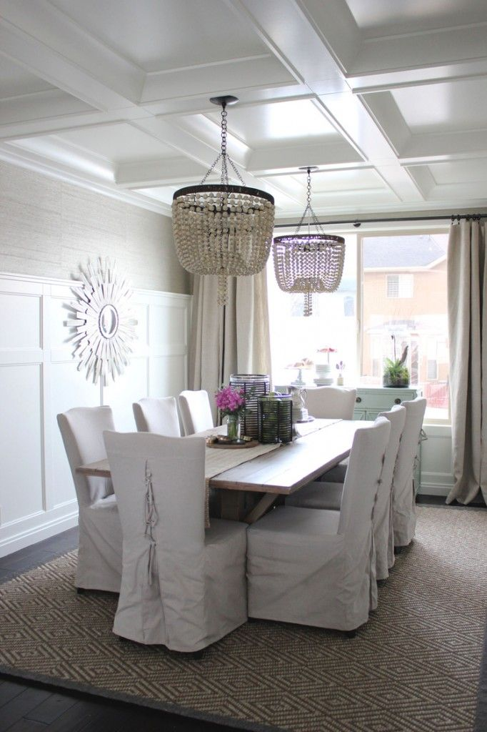 Alice Lane Home Collection | Coastal dining room with grasscloth wallpaper.
