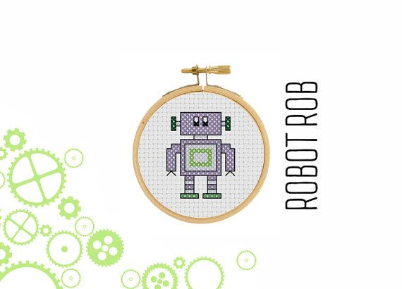 Robot Rob  borduur patroon  mini robot  pixel art  modern