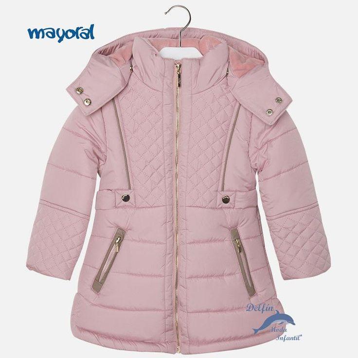 Chaquetón de niña MAYORAL acolchado rombos color rosado