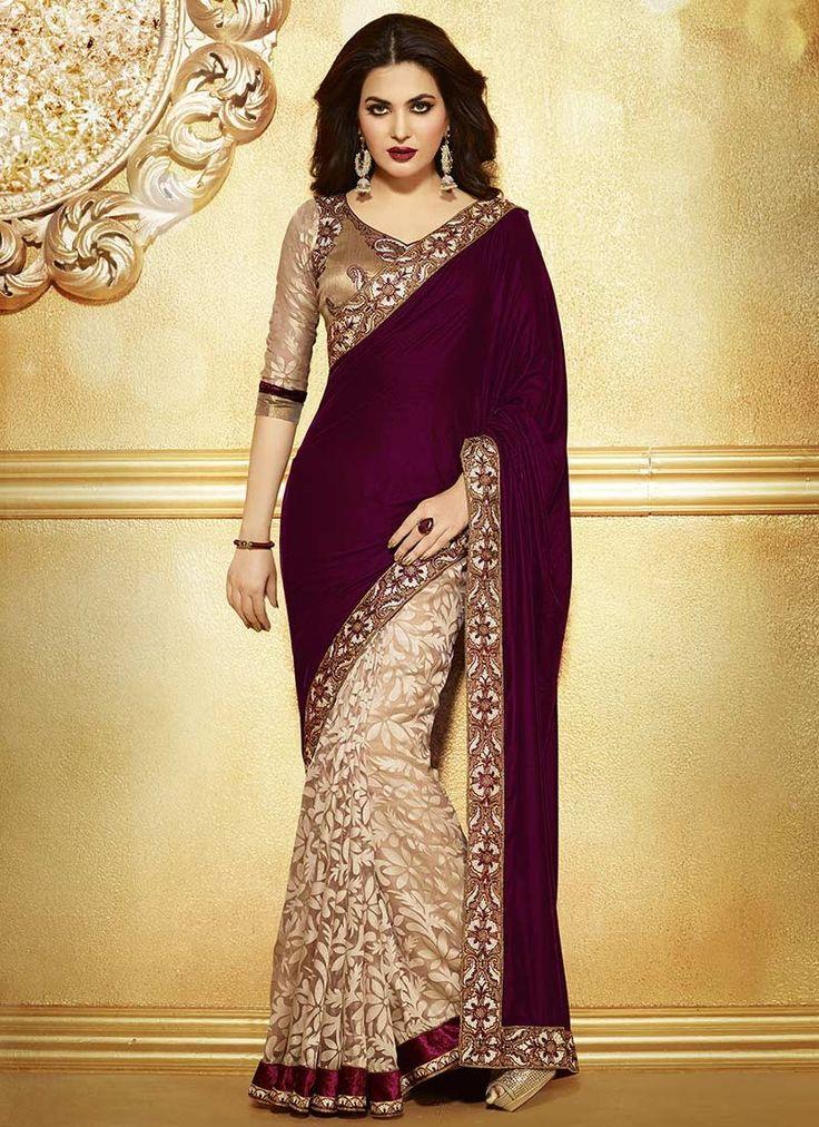 gold and maroon bridal lehenga | Home » Sarees » Maroon & Beige Velvet & Net Brasso Designer Saree