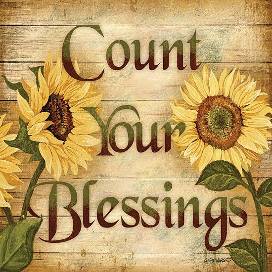 Sunflower Count Your Blessings Primitive Wall Art