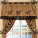 Western Window Treatments - three horses valance