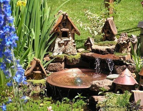 Fairy Garden / Toad Garden with water feature ~ One of the best ones I've seen!