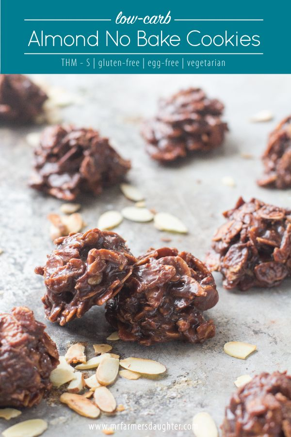 Low-carb, Almond, No Bake Cookies, grain-free, gluten-free, cocoa, chocolate, almond butter, almonds, sugar-free, vegetarian