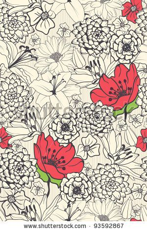 stock vector : Seamless Floral Pattern With Red Flowers On Monochrome Background