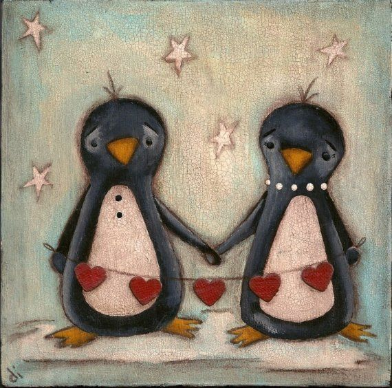 Did you know that when a penguin finds it's mate, they stay together for the rest of their lives? <3    Print of my original folk art painting   Chain of Love by DUDADAZE, $10.00