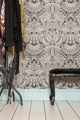 Farrow & Ball Orangerie is from The Baroque Papers collection and is bursting with extravagant detail encapsulating exotic leaf patterns interspersed with flowers and fruit such as the central pineapple motif.