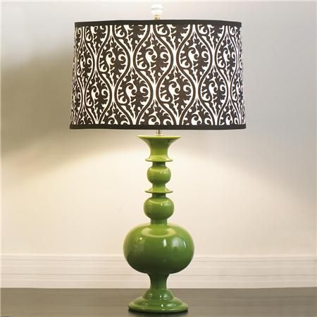 Take a stained Goodwill lampshade, add wallpaper and presto.: Goodwill Lampshade, Spaces, Table Lamps, Outdoor Living, Diy Lampshade, Lampshade Green, Living Room, Lampshade Kristen, Green Lamp