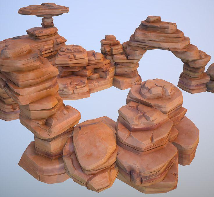 Desert rocks, Alexey B. on ArtStation at https://www.artstation.com/artwork/q6QbN