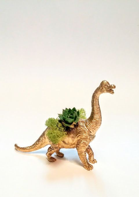 Effie Pots & Co. gold dinosaur planter available at Harold + Ferne: The Local Goods Co.