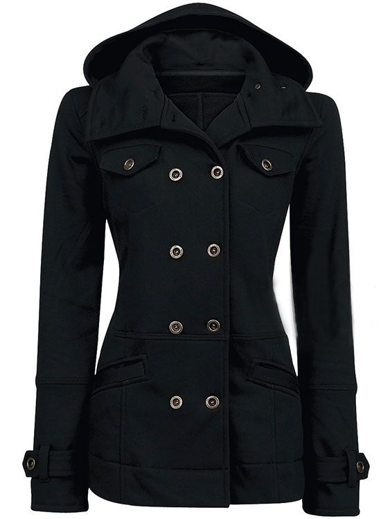 Hooded Double Breasted Women's Trench Coat