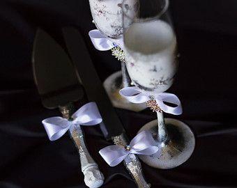 Servidor de pastel de boda invierno set boda copas boda flautas tostado torta cortar set blanco y plata, porción de torta de la boda conjunto copo de nieve