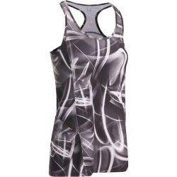 Débardeur long ENERGY fitness femme imprimé graphique noir et blanc