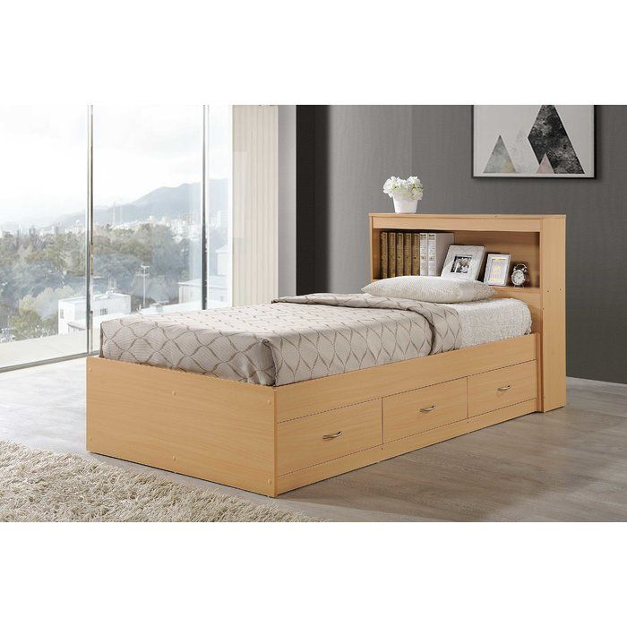 Keira Platform Bed With Drawers And Bookcase Allmodern Bed With Drawers Minimalist Bedroom Platform Bed With Drawers