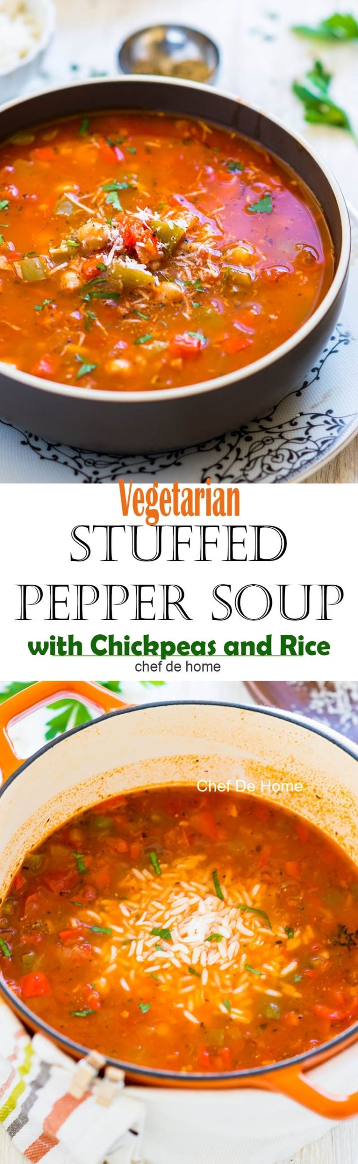 Easy homemade vegetarian stuffed pepper soup with two kind of peppers chickpeas and rice gluten free | chefdehome.com (carb free foods chicken soups)