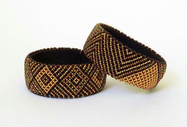 Bracelet en perles Sud Africain Zoulou - Doré/bronze/marron