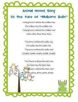 Sing this song with your kiddos as they learn about animal homes and ...