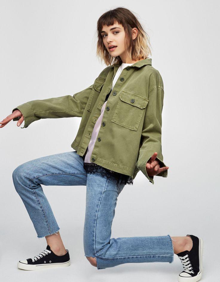 Pull&Bear - ženy - oděvy - nejprodávanější ❤ - overshirt with pockets - khaki - 05471334-V2017