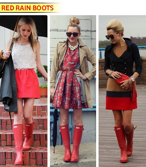 Red Hunter Boots ♥, i am dying cause i got the navy ones a year ago & these don't come cheap. I could have got red!