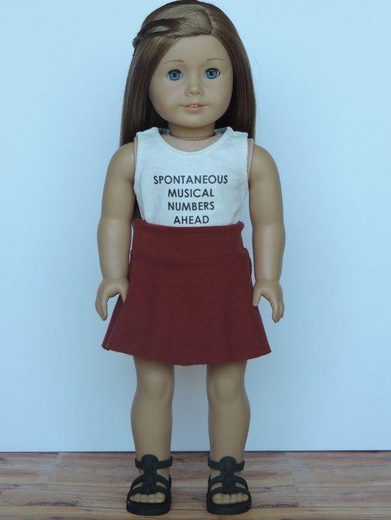 Dark Red Skater Skirt American Girl Doll by HerDollEssentials
