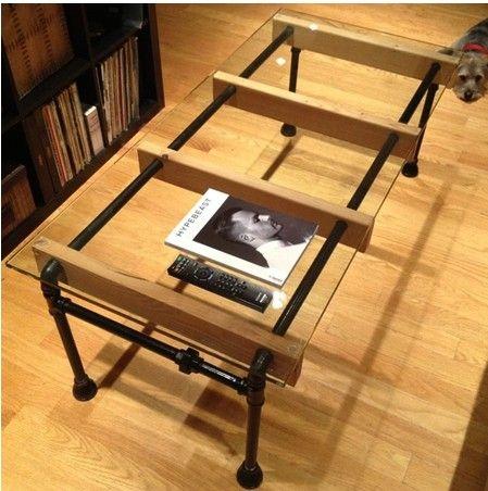 Americanos retro tubos de ferro vidro criativo end mesa para fazer o velho ferro forjado mesa de café mesas de jantar Aiji