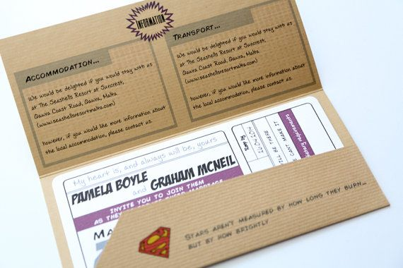 Retro Comic Book Ticket Wedding Invitation by AngelfinsStationery