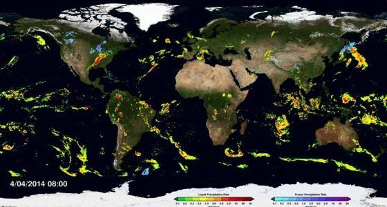 Vídeo com mapa da NASA revela em tempo real como chove e neva no planeta