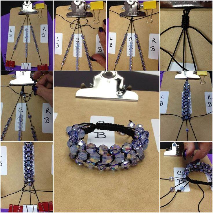 How to DIY Three Strand Crystal Shamballa Style Bracelet