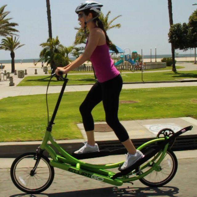 Bicycle + Elliptical = Elliptigo - Bicycle + Elliptical = Elliptigo. This seems like so much fun ha ha. You'd LOOK ridiculous, but... fun.