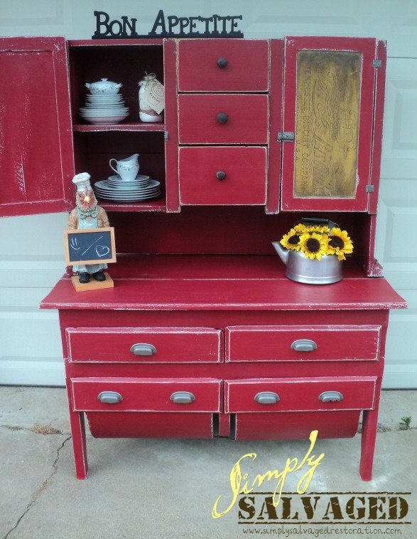 Simply Salvaged Primitive Possum Belly Cabinet Before
