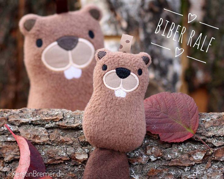 Biber Ralf ♥ Eine zuckersüße ITH Stickdatei von KerstinBremer.de. So sweet! Cute plushie beaver ♥ ith beaver machineembroidery design. #handmade #nähen #sticken