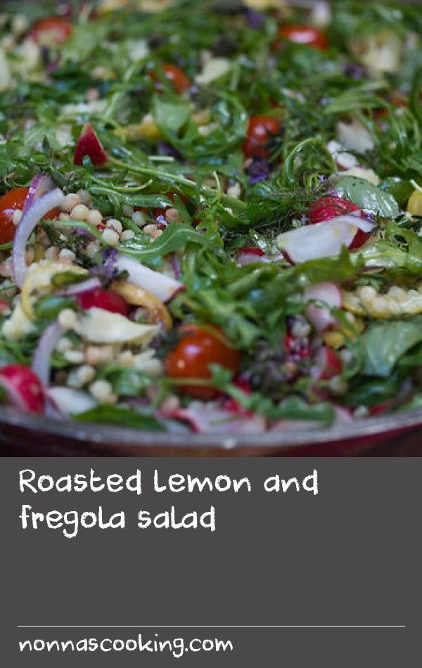 Roasted lemon and fregola salad   When I cooked this recipe to camera I had a home crowd watching me I couldn't have dreamed of. That night a group of Aussie women checked into Roberto's tiny country hotel. It turned out they landed in Italy that morning arriving from London, where they visited the restaurant of their favourite chef; and that chef is your humble servant. So the one night they are in Ottolenghi eating the food and the next night they are in Sardinia watching him cook to…