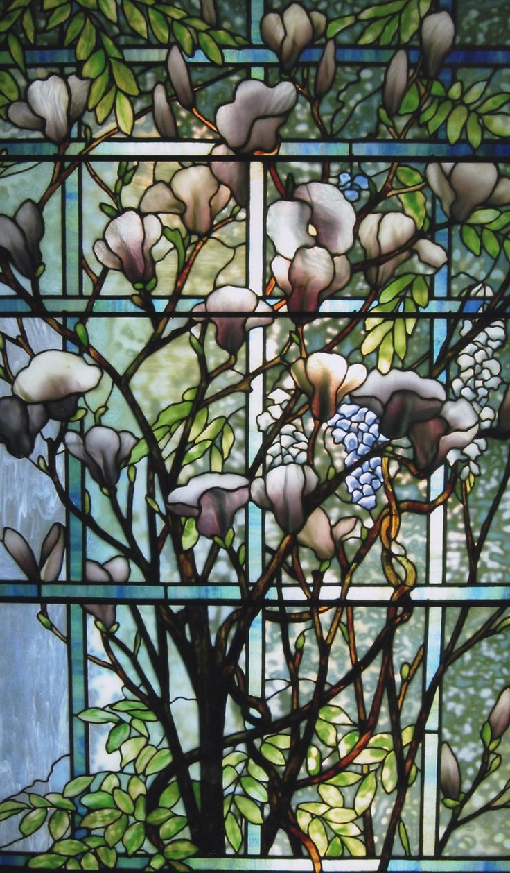 Tiffany Studios leaded glass Magnolia and Wisteria Window.