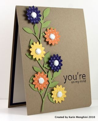 Brown Kraft Card...with lovely dimensional flowers...by TwoFriendsStamping.