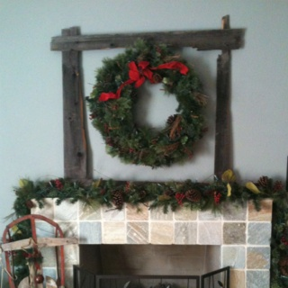 Old fence boards made into a frame.