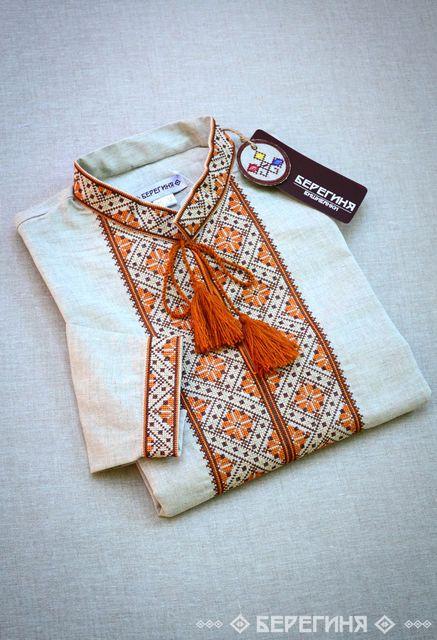 Мужская вышитая рубашка из льна Переплет Коричневый, фото 1
