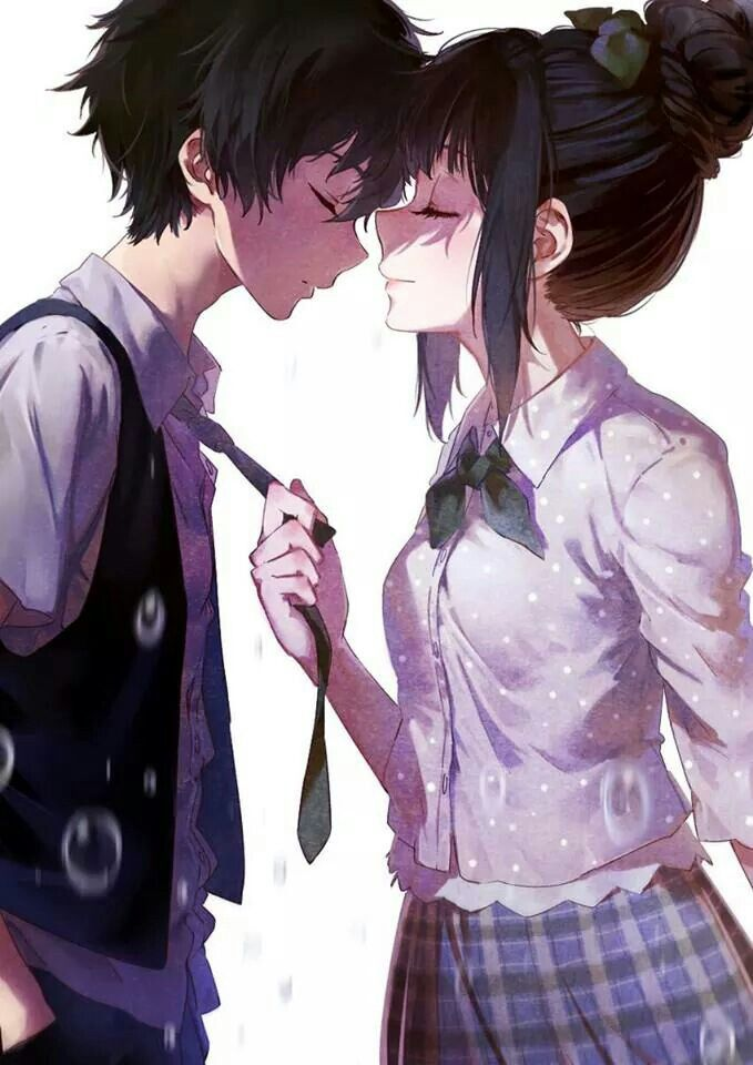 Cute anime couple, school uniform
