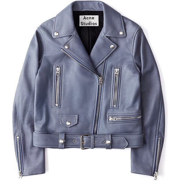 Acne Studios Mock Leather Moto Jacket found on Polyvore featuring outerwear, jackets, blue, leather motorcycle jacket, genuine leather biker jacket, real leather jackets, biker jackets and blue biker jacket
