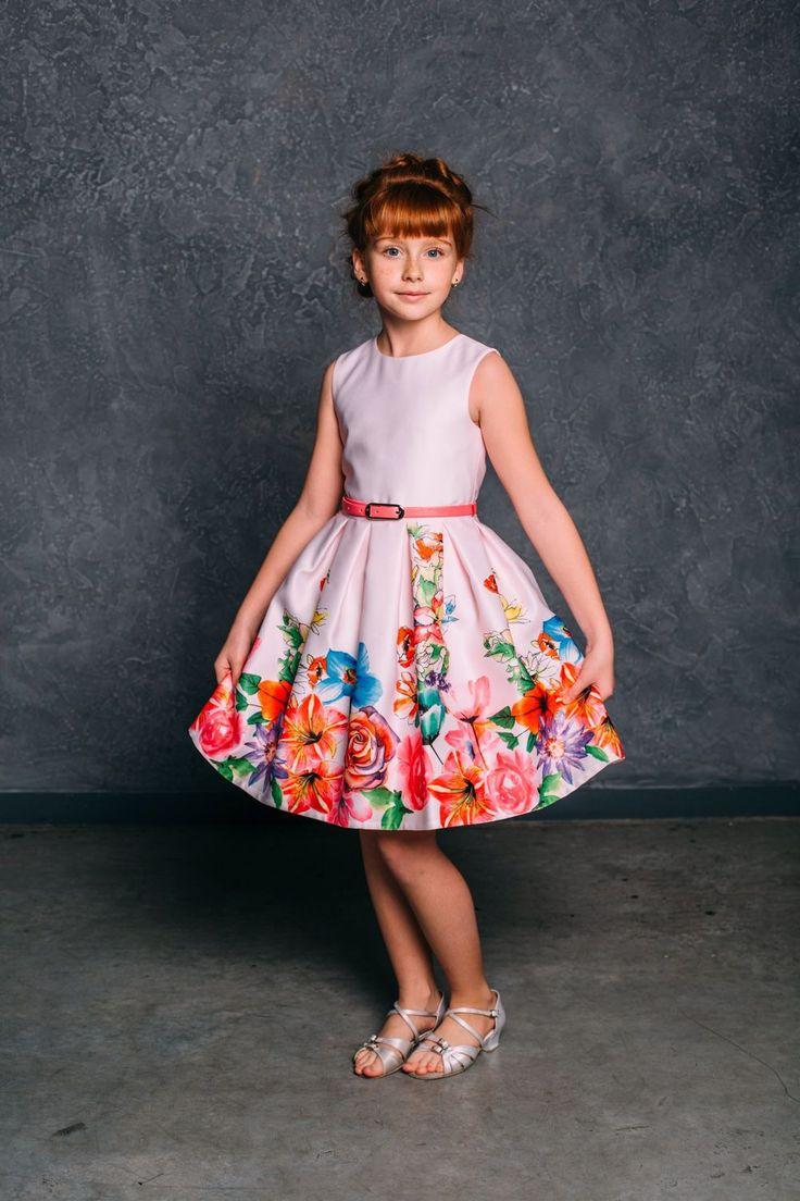 """Купить Нарядное нежное платье для девочки """"Лилия"""" (60) - платье с цветами, яркое нарядное платье"""