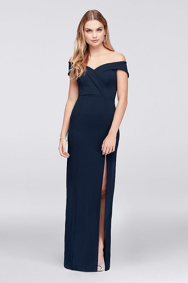 7f0dc7878fef Off-The-Shoulder Scuba Crepe Sheath Prom Dress | David's Bridal | Navy prom  dress, off the shoulder prom dress, blue prom dress